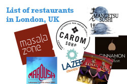 List of Restaurants in London UK – Indian, Japanese, Thai, Lebanese, Caribbean