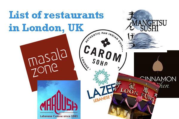 List of restaurants in London, UK